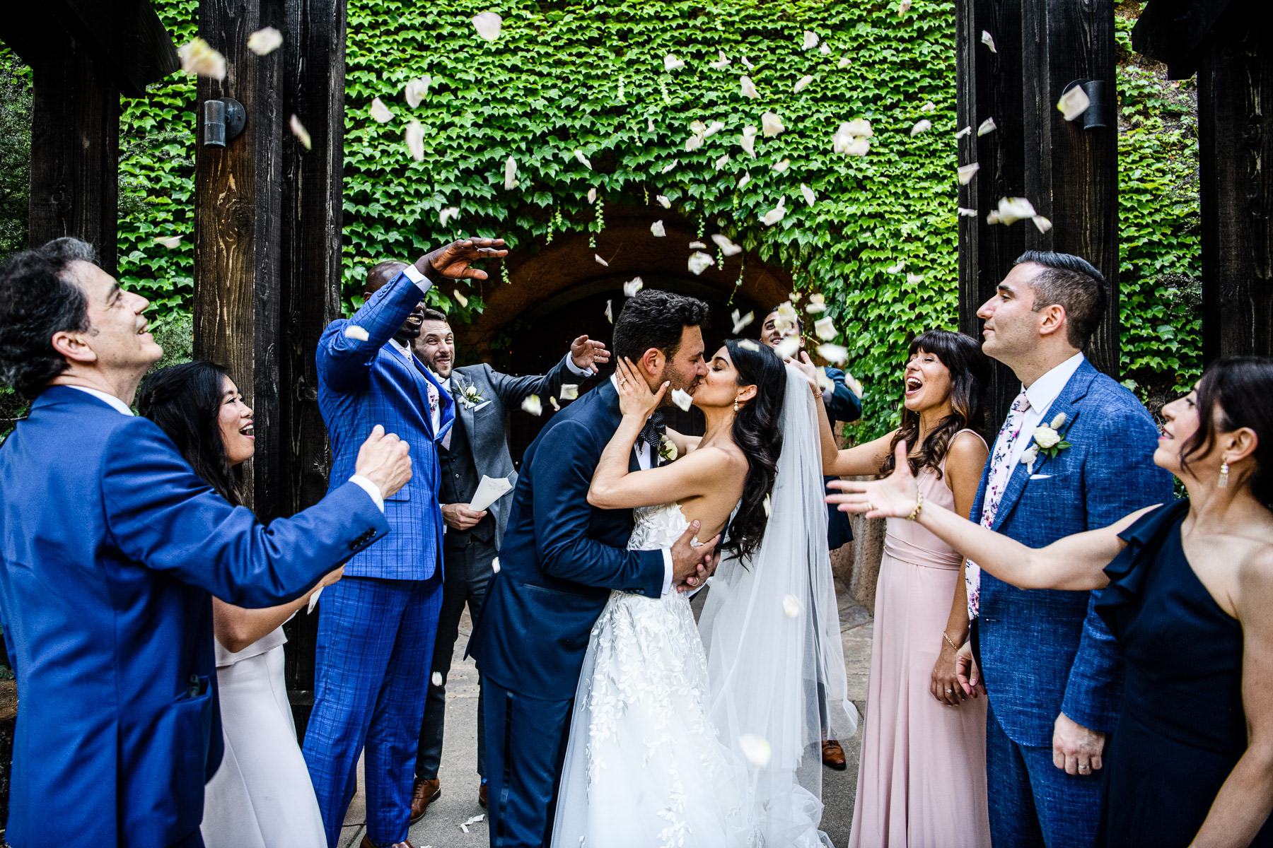 petal toss at Calistoga Ranch Wedding by Duy Ho